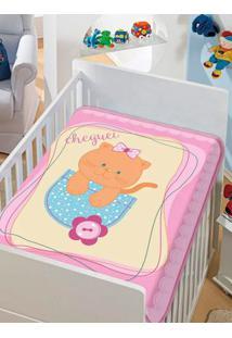 Cobertor Jolitex Infantil Para Bebê - Rosa/Azul