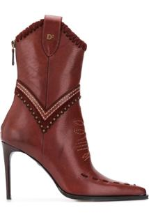 Dsquared2 Ankle Boot De Couro - Vermelho