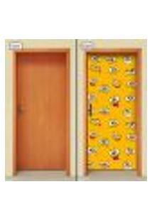 Adesivo Decorativo De Porta - Carinhas - Infantil - 1521Cnpt