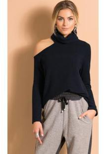 Blusa Com Vazado No Ombro E Gola Alta Preta