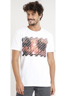 Camiseta Masculina Com Estampa De Coqueiros Manga Curta Gola Careca Branca