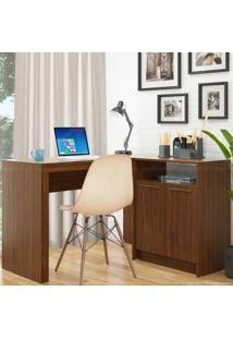 Mesa Em L Para Notebook Com Balcão 2 Portas Frame Castanho - Brv Móveis