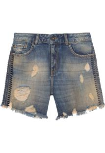 Bermuda Feminina Jeans Lateral Pedras - Azul