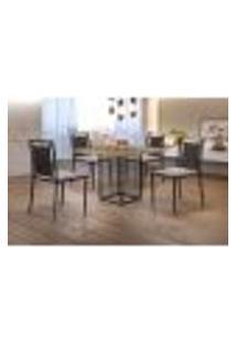 Conjunto De Mesa De Jantar Hera Com Tampo Siena E 4 Cadeiras Grécia I Linho Bege E Preto