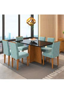 Conjunto De Mesa De Jantar Com Tampo De Vidro Ana E 6 Cadeiras Amanda Animalle Nero E Azul