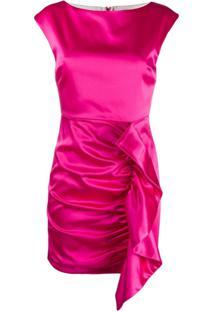 P.A.R.O.S.H. Vestido Mini Franzido Com Detalhe Drapeado - Rosa