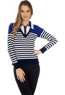 Blusa Pink Tricot Suéter Polo Listrado Feminino - Feminino-Azul