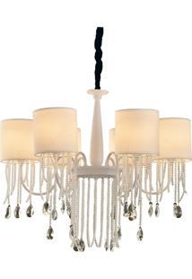 Lustre Premier Iluminação Asten, Metal, Vidro E Cristal, Branco