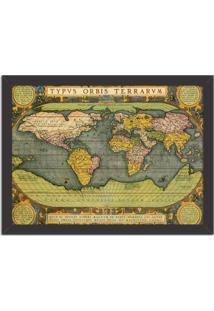 Quadro Decorativo Mapa Mundi Antigo Preto - Médio