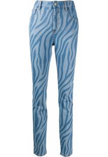 Just Cavalli Calça Com Estampa De Zebra - Azul