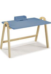 Mesa Escrivaninha Com Porta Objetos Ringo 1031 Natural/Azul Serenata - Maxima