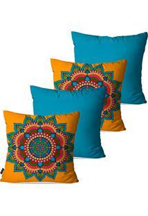 Kit Com 4 Capas Para Almofadas Decorativas Azul Mandala 45X45Cm