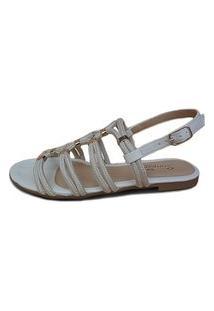 Rasteira Scarpan Calçados Finos Sandália De Cordas Marfim Com Enfeite Ouro