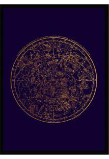 Quadro Decorativo Com Moldura Celestial Azul E Preto (45X32)