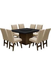 Conjunto De Mesa Para Sala De Jantar Com 8 Cadeiras Esparta-Dobue - Castanho / Preto / Bege
