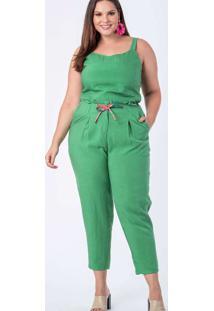 Calça Almaria Plus Size Munny Lisa Mônaco Verde