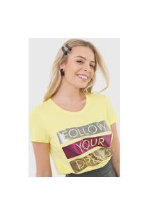 Camiseta Enfim Lettering Amarela
