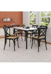 Conjunto De Mesa De Jantar Com 6 Cadeiras E Tampo De Madeira Katrina Preto