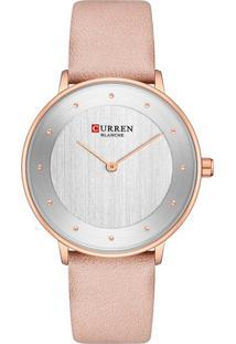 Relógio Curren Analógico C9033L Dourado E Rosa