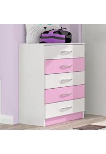 Cômoda 5 Gavetas - Evidência Móveis Rosa Com Branco