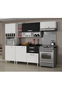 Cozinha Compacta Ágatha - Aéreos Basculantes, Armário Para Forno E Balcão - Branco Brilho/ Bp Preto