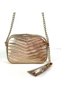 Bolsa Emporionaka Metalizada Transversal Feminina - Feminino-Dourado