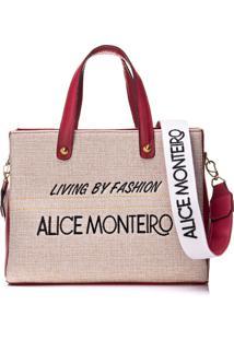 Bolsa Alice Monteiro Bordado Frase Vermelha