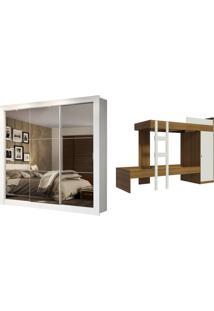 Kit Madesa Guarda-Roupa Infantil Texas Plus 3 Portas De Correr De Espelho + Beliche Larissa Branco