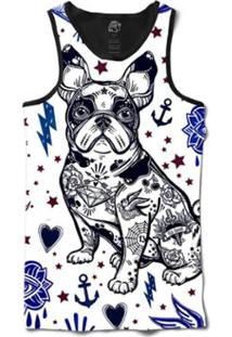 Camiseta Bsc Regata Pug Tattoo 2 Sublimada Masculina - Masculino-Branco+Azul 679ee2590a5