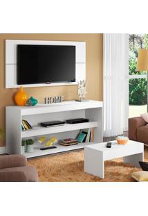 Rack Com Painel Para Tv Atã© 55 Polegadas E Mesa De Centro Madesa Flã³Rida Branco - Branco - Dafiti