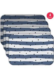 Jogo Americano Love Decor Wevans Listras Azuis Kit Com 4 Pçs