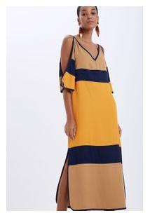 Vestido Tricolor Midi Marinho/Curry/Cedro