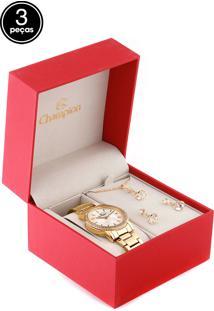 Kit 3 Pçs Relógio Champion Cn27957B Dourado