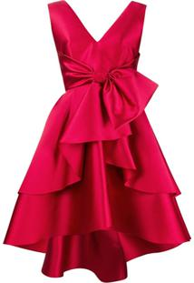 Alberta Ferretti Vestido Slim Com Laço - Vermelho