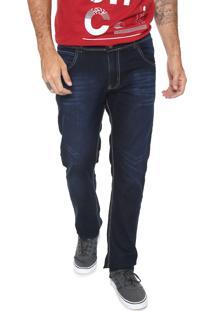 Calça Jeans Fiveblu Slim Pespontos Azul-Marinho