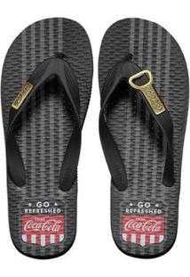 Chinelo Coca Cola Badge Masculino - Masculino-Preto