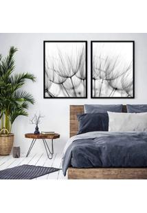 Quadro 65X90Cm Dente De Leão Flores Minimalista Tons Azuis Moldura Preta Decorativo Interiores