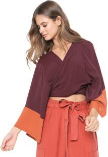Blusa Dress To Bicolor Vinho/Laranja