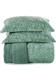 Jogo De Colcha Solteiro Altenburg Blend Fashion Plush Concept- Verde