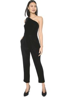 Macacão Banana Republic Slim One Shoulder Jumpsuit Preto