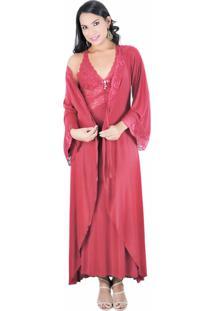 Robe Longo Estilo Sedutor Em Liganete E Renda Vermelha