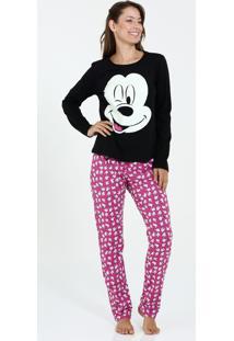 Pijama Feminino Manga Longa Estampa Mickey Disney