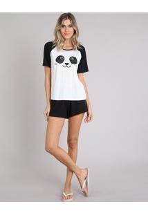 Pijama Feminino Com Estampa De Panda Raglan Manga Curta Off White
