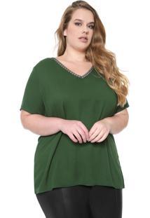 Blusa Cativa Plus Renda Verde