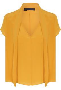 Blusa Feminina Decote V De Seda - Amarelo