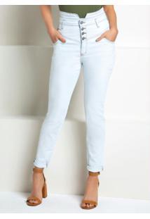 Calça Cós Dobrado Jeans Claro Com Botões E Zíper