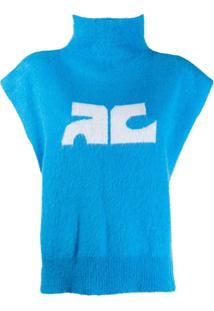 Courrèges Blusa Gola Alta Com Logo - Azul