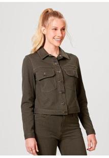 Jaqueta Em Malha De Algodão Com Bolso Hering Feminina - Feminino-Verde Militar