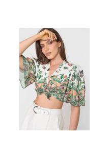 Blusa Cropped Colcci Estampado Amarração Off-White/Verde