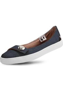 Sapatilha Casual Usthemp Womanly Com Enfeite Jeans Azul